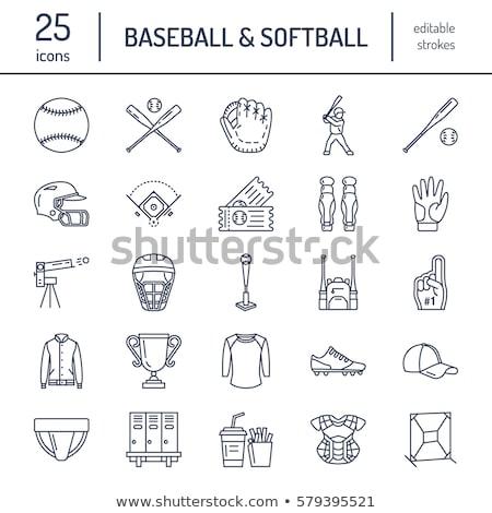 beisebol · softball · esportes · jogo · vetor · linha - foto stock © Nadiinko