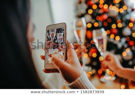Christmas couple make selfie Stock photo © deandrobot
