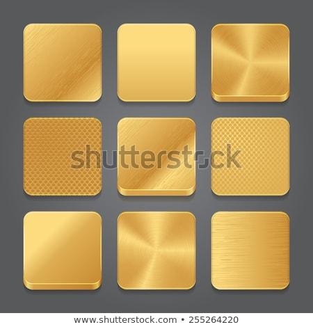 Stock fotó: Arany · app · ikon · sablon · fém · textúra · technológia