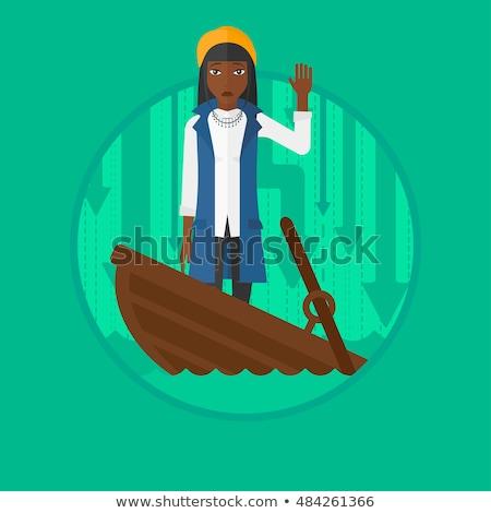 Business woman Untergang fragen helfen erschrocken Geschäftsmann Stock foto © RAStudio