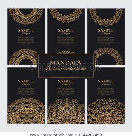 Mandala tarjeta banners prima dorado estilo Foto stock © SArts
