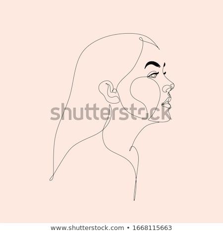 portret · jonge · vrouw · jonge · mooie · vrouw · potlood · schoonheid - stockfoto © fisher