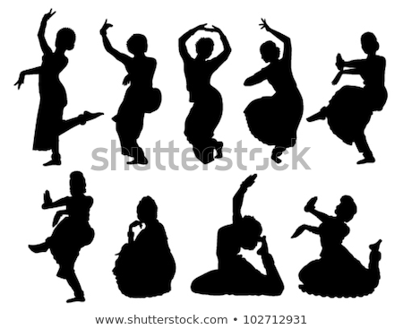 Silhouet indian dans vier silhouetten dansers Stockfoto © sharpner