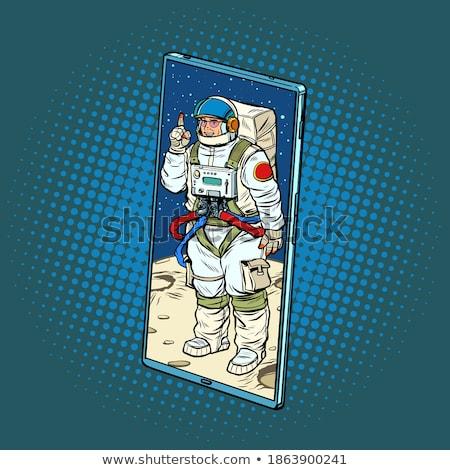 Kozmikus hívás képzeletbeli kilátás fiatalember ül Stock fotó © psychoshadow