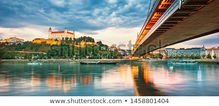 view to skyline of Bratislava with river Danube Stock photo © meinzahn