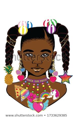 Gyönyörű fekete lány nagy fülbevalók fiatal Stock fotó © svetography