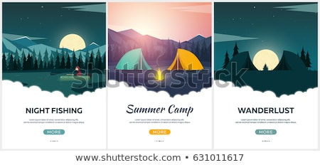 summer camp evening camp pine forest and rocky mountains sunset in the mountains climbing trekk stock photo © leo_edition