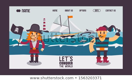 Stockfoto: Vector Flat Style Illustration Of Pirate Ship With Dolphins