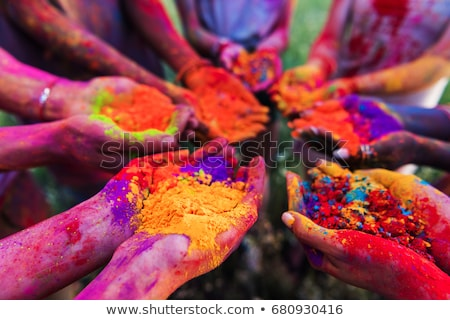 gelukkig · meisjes · handen · verf · geïsoleerd · witte - stockfoto © nobilior