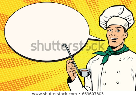 Caucasian chef with ladle for cooking, comic bubble Stock photo © studiostoks
