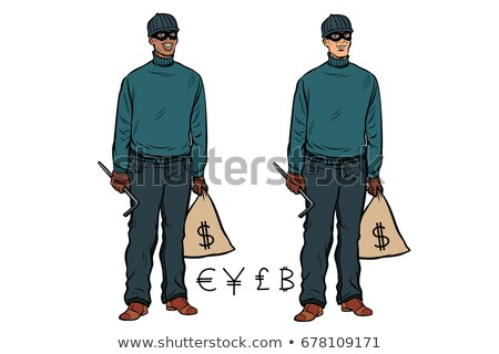 African Caucasian thief robber dollar Euro pound yen bitcoin Stock photo © studiostoks