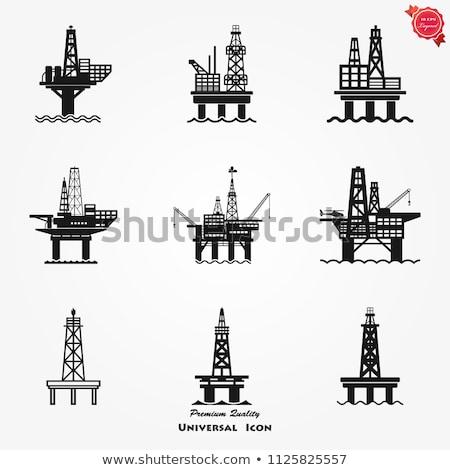 pétrolières · mer · plate-forme · icône · couleur · design - photo stock © zhukow