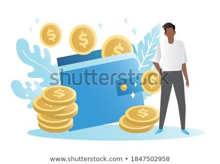 sikeres · üzletember · dollár · érme · kaukázusi · hipszter - stock fotó © rastudio