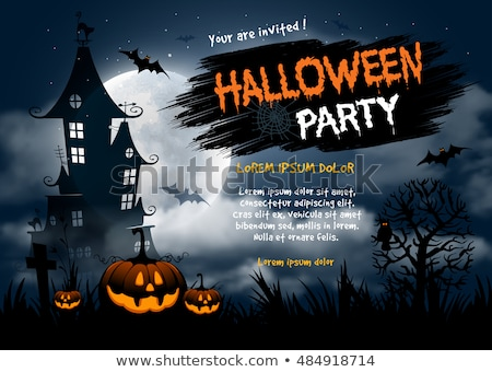 Halloween Party Poster with Haunted House Stock photo © WaD