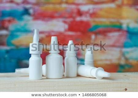 health concept sinusitis on red brickwall stock photo © tashatuvango