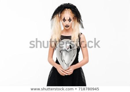 Gek blonde vrouw zwarte weduwe kostuum Stockfoto © deandrobot