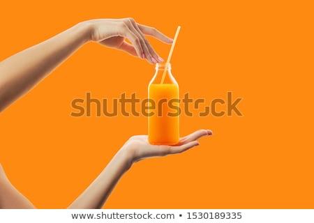 少女 ガラス オレンジジュース 食品 フルーツ ストックフォト © IS2