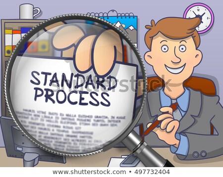 Processo ottimizzazione lente di ingrandimento doodle stile suit Foto d'archivio © tashatuvango