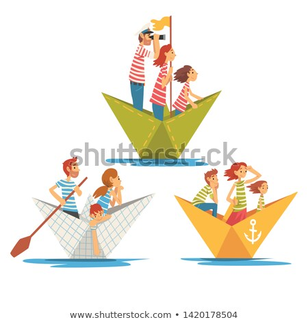 Father and Daughter With Paper Boat Stock photo © IS2
