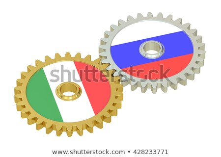 Italy - Russia. Metallic Cogwheels. 3D. Stock photo © tashatuvango