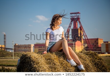 женщину сидят сено тюк смеясь сельского хозяйства Сток-фото © IS2