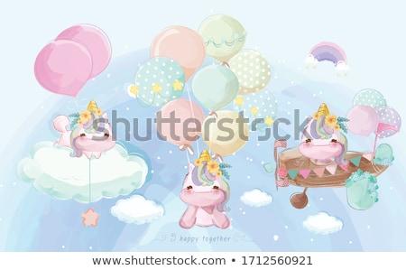Piękna gryzmolić baby prysznic karty akwarela Zdjęcia stock © balasoiu