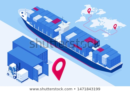 Sea shipping logistics isometric poster Stock photo © studioworkstock