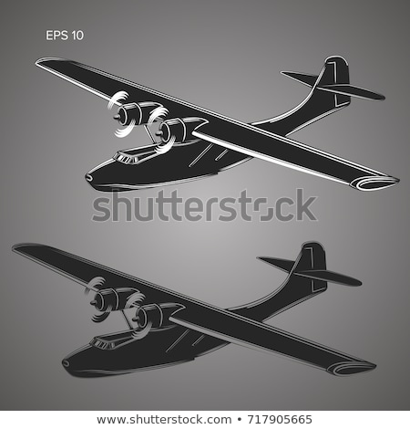 Propeller flying boat isolated icon Stock photo © studioworkstock