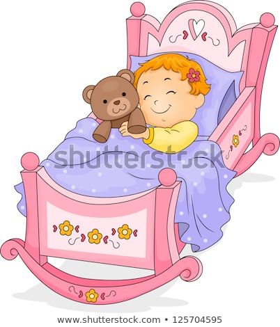 Young girl cuddling bear on bed Stock photo © IS2