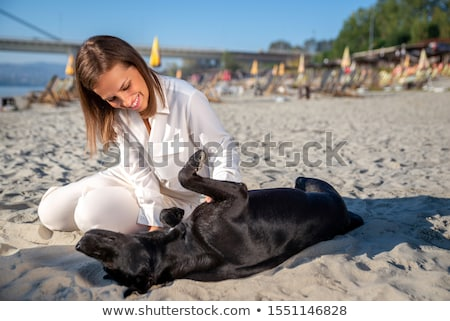River Danube young woman with dog Stock photo © IS2