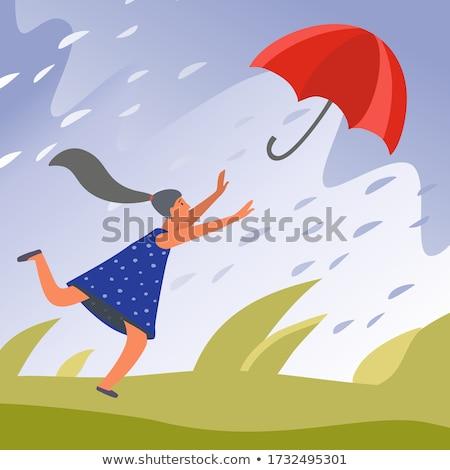 forte · vento · mulher · jovem · guarda-chuva · isolado · ilustração - foto stock © tiKkraf69