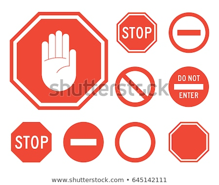 Stop sign with red hand, vector illustration isolated on white background. Stock photo © kyryloff