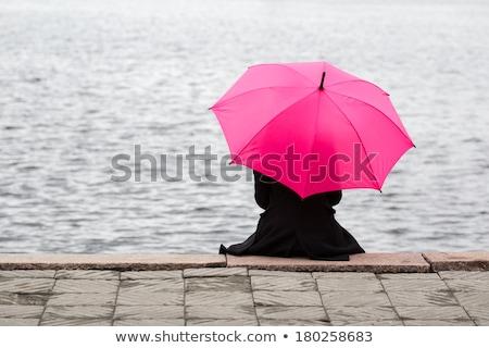 Solitude femme forme silhouette nuit fenêtre Photo stock © Olena