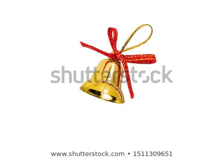 Weihnachten golden Glocke rot Satin Band Stock foto © Melnyk