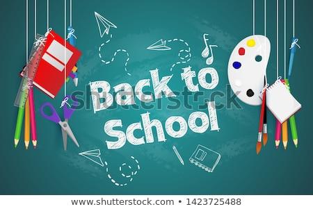 Ceruza zsírkréták szöveg üdvözlet iskola edény Stock fotó © nito