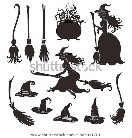 Halloween cadı süpürge örnek kız Stok fotoğraf © adrenalina