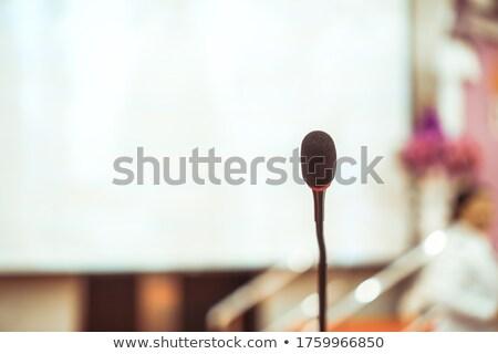 Mini mikrofon konuşmacı konferans salon konuşma Stok fotoğraf © gnepphoto