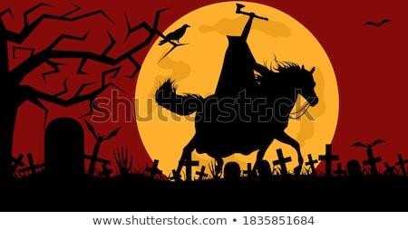 человека верховая езда лошади кладбище луна трава Сток-фото © DeCe