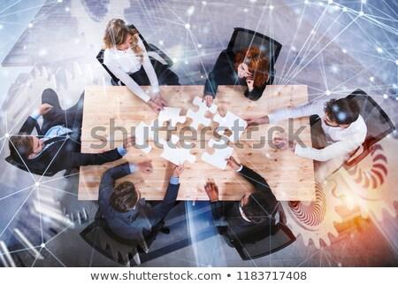 Csapatmunka partnerek integráció startup kirakó darabok viselet Stock fotó © alphaspirit