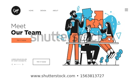business meeting   modern flat design style colorful banner stock photo © decorwithme