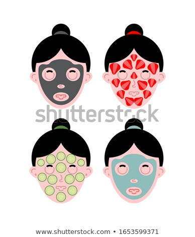 Visage de femme masque pommade saleté fraises Photo stock © MaryValery