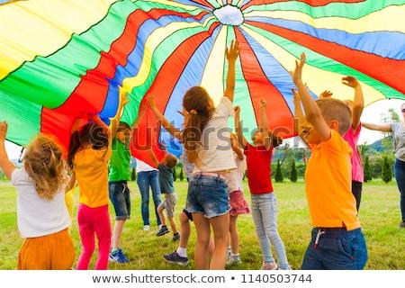 Stock fotó: Gyerekek · játszik · játszótér · illusztráció · égbolt · ház