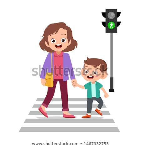 Mother With Children Walk At Crosswalk Vector. Isolated Illustration Stock photo © pikepicture