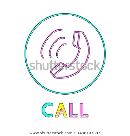 Call Round Linear Button with Receiver Symbol Stock photo © robuart