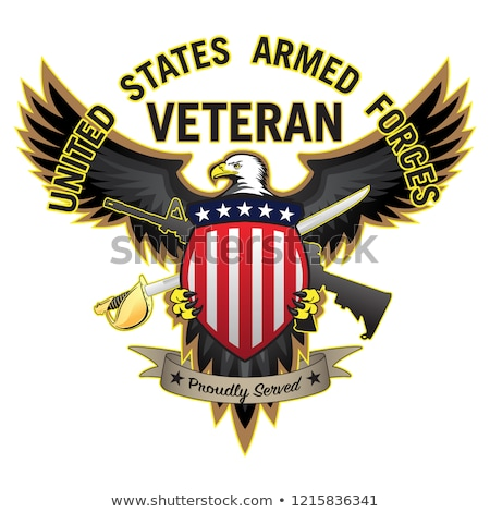 United States Armed Forces Veteran Proudly Served Bald Eagle Vector Illustration Stock photo © jeff_hobrath