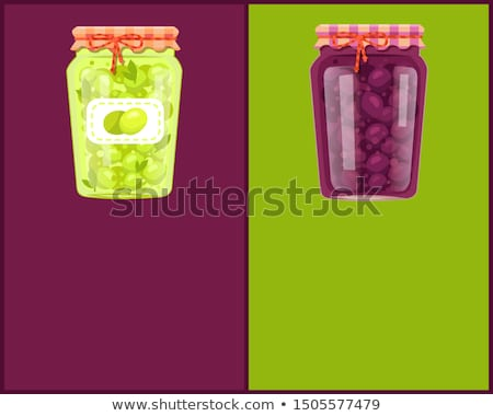 Preserved Food Poster Canned Plums in Glass Jar Stock photo © robuart