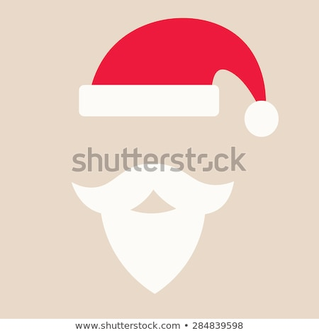 funny and hipster vector set with santa hats beards and mustaches stock photo © pravokrugulnik