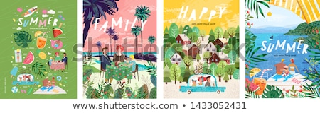 happy family set of posters vector illustration stock photo © robuart