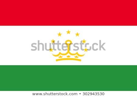 Tádzsikisztán zászló fehér felirat zöld utazás Stock fotó © butenkow