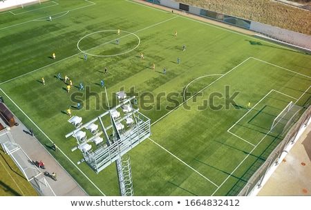 Aerial view of a soccer  pitch with people playing soccer on it  Stock photo © lightpoet
